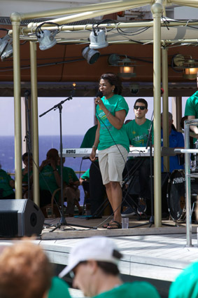 Jazz Cruise 2012: performing on stage at the pool party tee shirt event